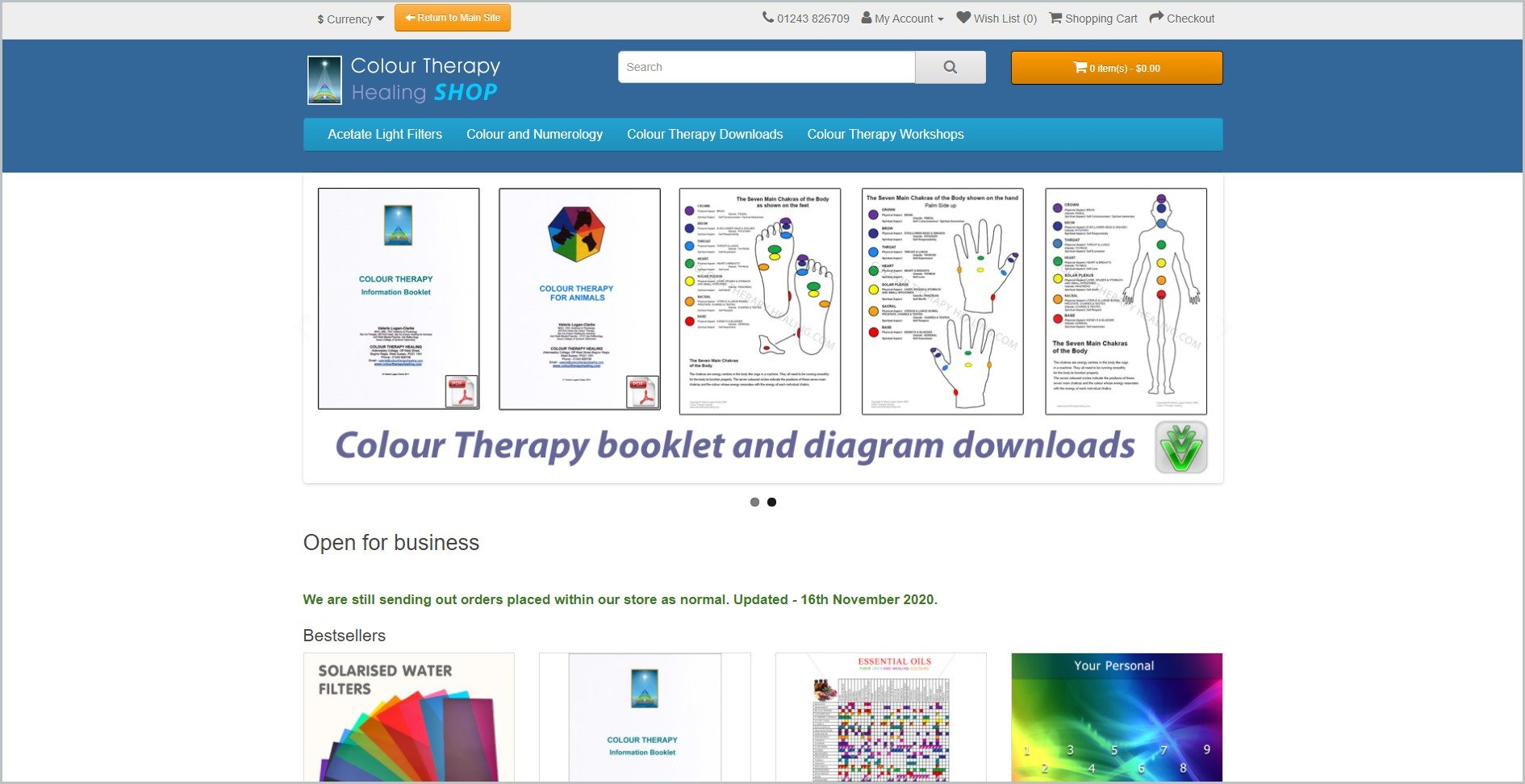 screenshot of Colour Therapy Healing homepage with blue header with the website's name, search bar, and main navigation menu