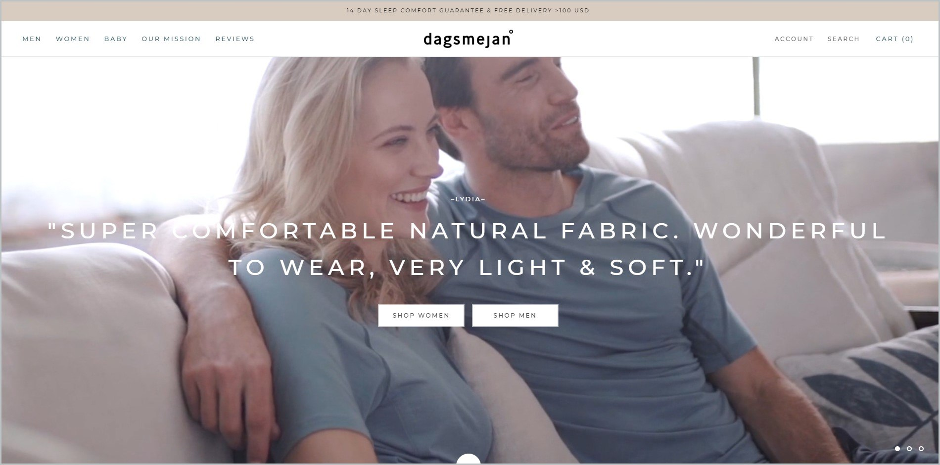screenshot of Dagsmejan homepage, with brown announcement bar and white header with the website's name and main navigation menu, it also features a picture of a couple in their sleepwear as the main image