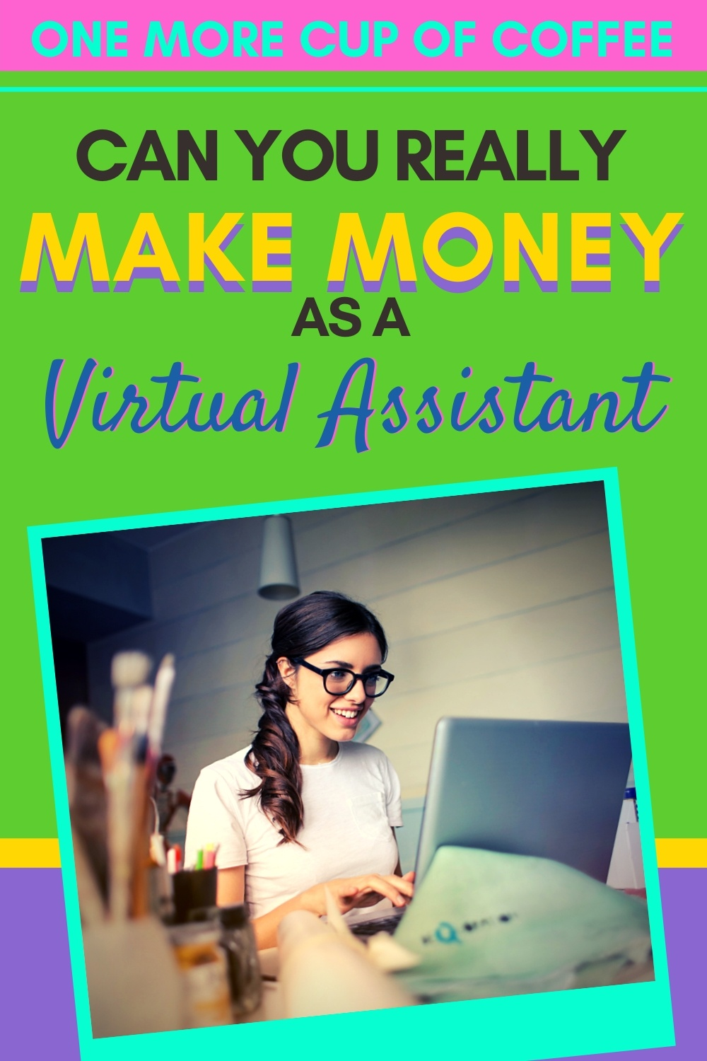 Woman working at her computer representing making money as a virtual assistant.