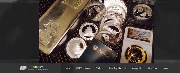 Website screenshot from the International Silver Network showing a collection of coins and bars