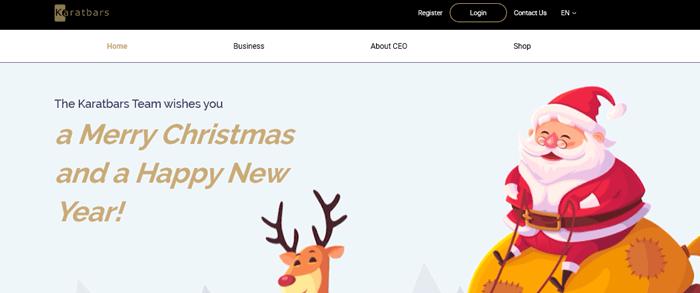 A screenshot from the Karatbars website showing a cartoon Santa with a reindeer