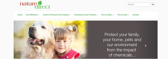 Nature Direct Website Screenshot showing a young girl and her dog