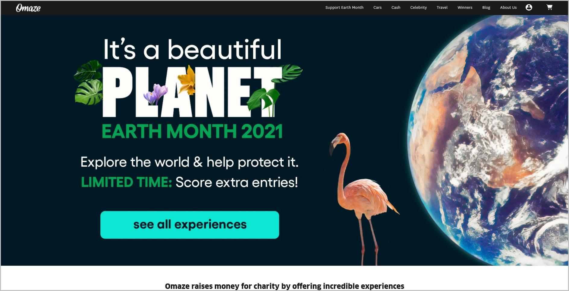 screenshot of Omaze homepage with black header with the website's name and main navigation menu, it showcases an image of earth and a pink flamingo