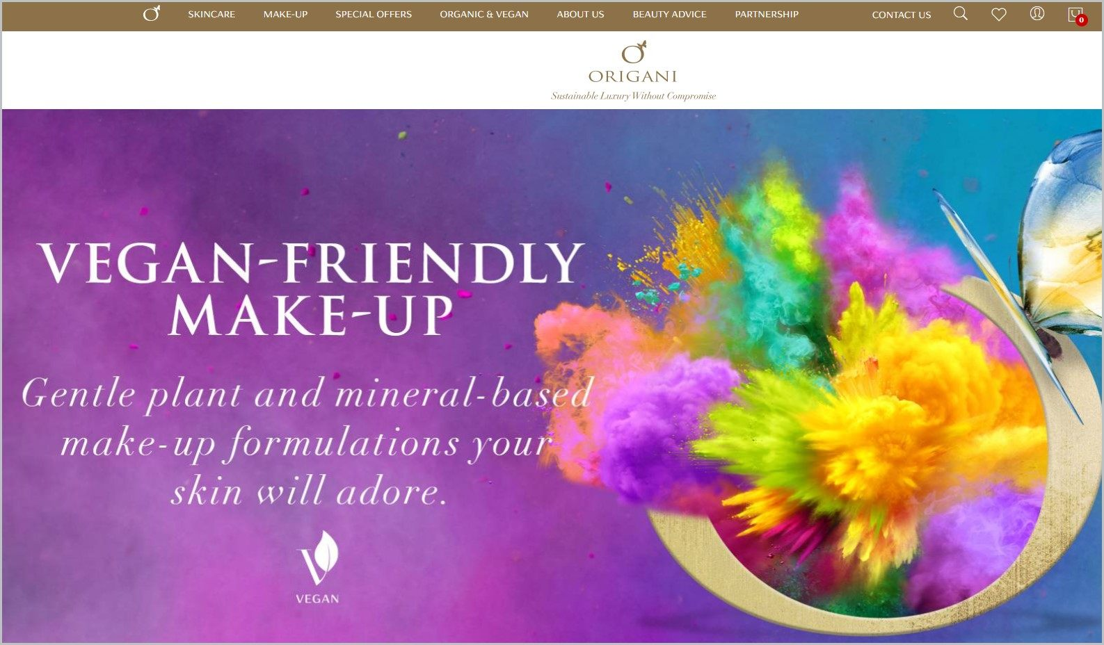 screenshot of Origani homepage, with gold navigation bar at the top, underneath is the website's name, it showcases a burst of different colored powder