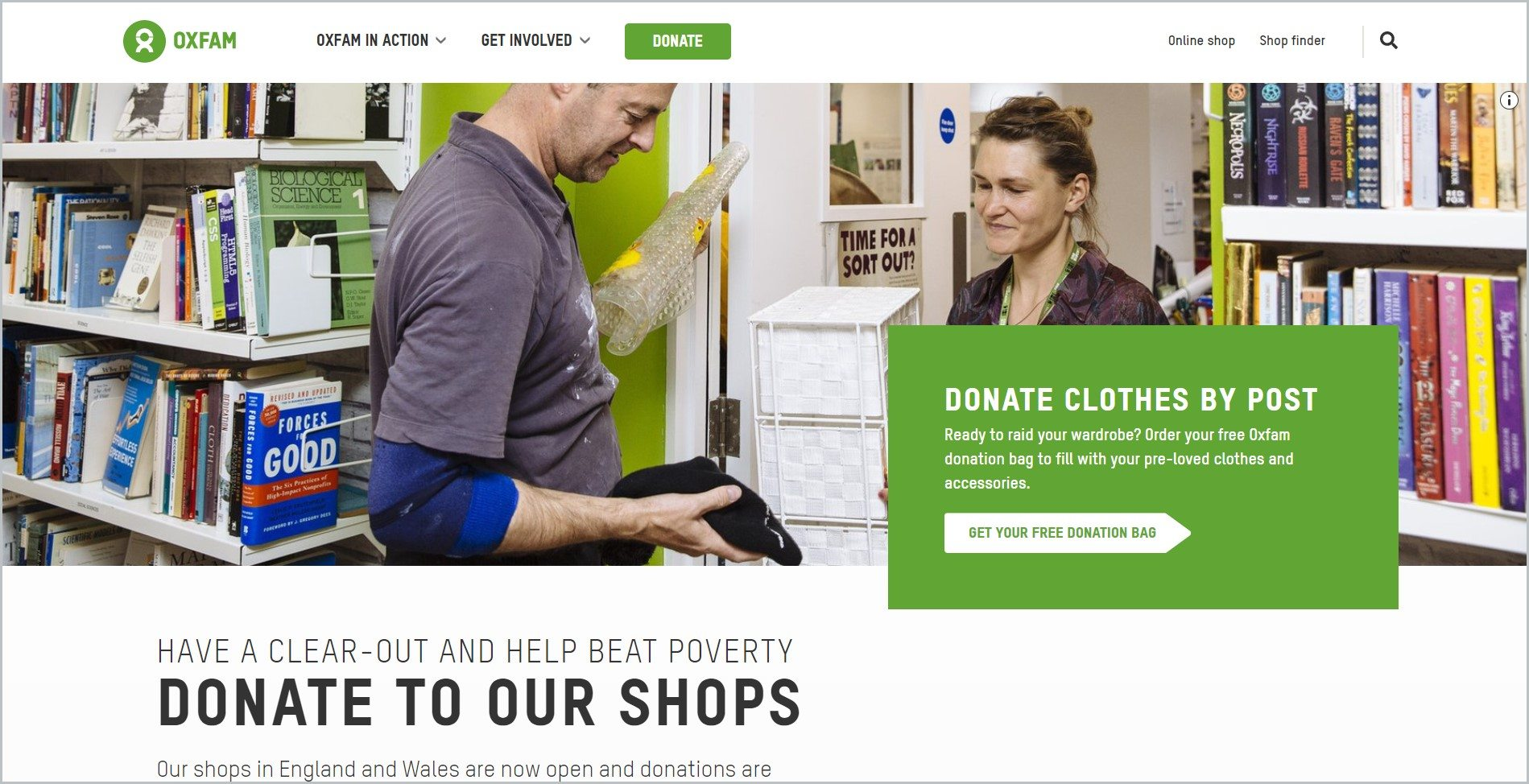 screenshot of Oxfam GB homepage, with white header bearing the website's name and main navigation menu, it showcases an image of a man an woman sorting donated goods