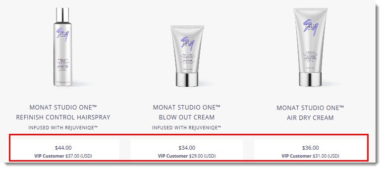 Prices for Monat's Products