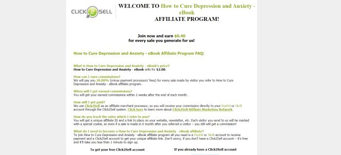 This screenshot of the affiliate sign-up page for Cure Depression And Anxiety has a gray and white background, a gray and green Click2Sell logo in the upper left corner, and black and green text describing the affiliate program.
