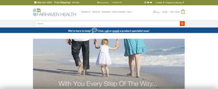This screenshot of the home page for Fairhaven Health has a green free shipping and contact bar, a white navigation bar, a blue customer service bar, and a main section with a white background and a photo of a father in jeans, a mother in a light blue and white polka dotted skirt, and a toddler girl with blonde hair and a white sundress walking together on a sandy beach next to the water.