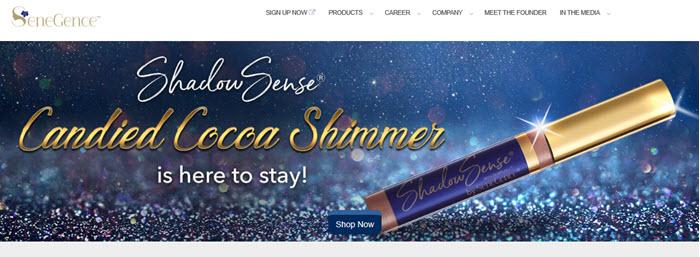 SeneGence Website Screenshot showing mascara against a colored background