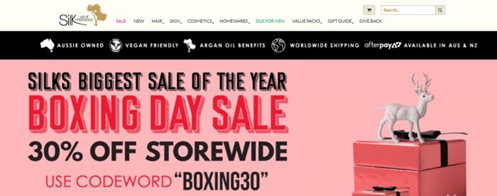 Silk Oil of Morocco Website Screenshot showing a Boxing Day sale