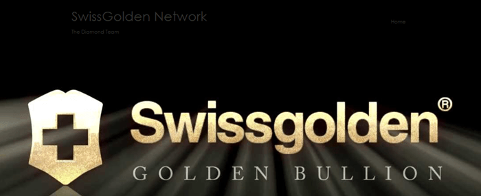 Website screenshot from Swissgolden Network showing the logo against a black background