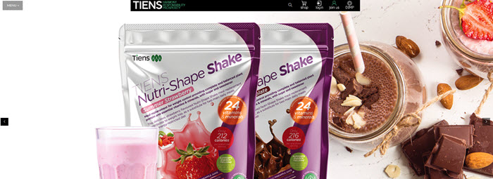 Tiens Website Screenshot showing two bags of protein shake mix