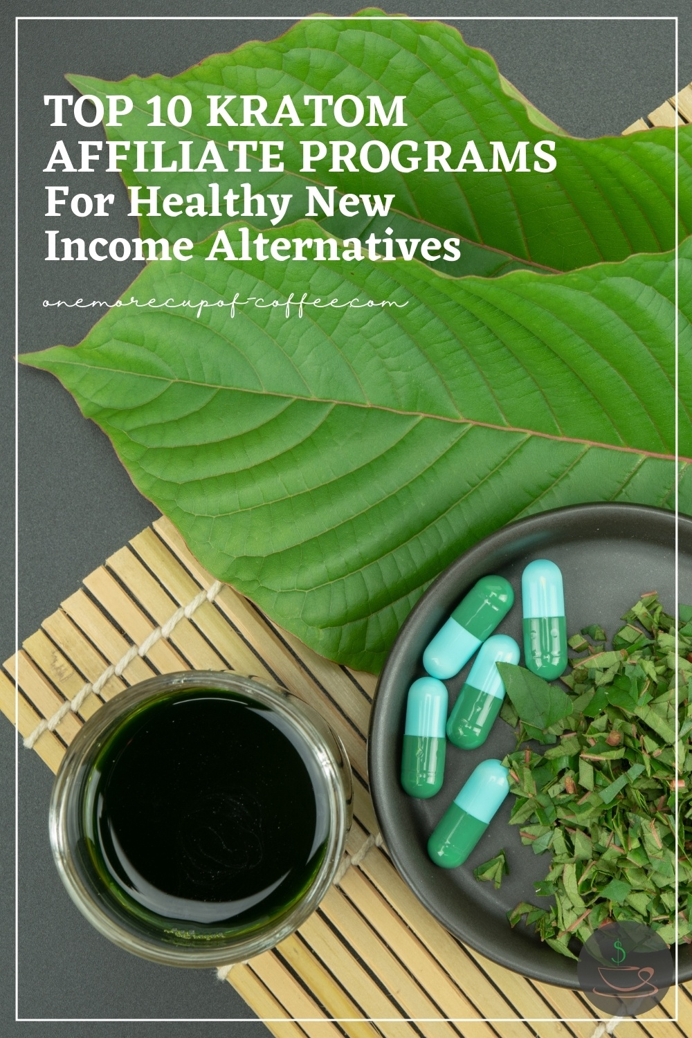 top view image of kratom leaves, capsules, and tea; with text overlay