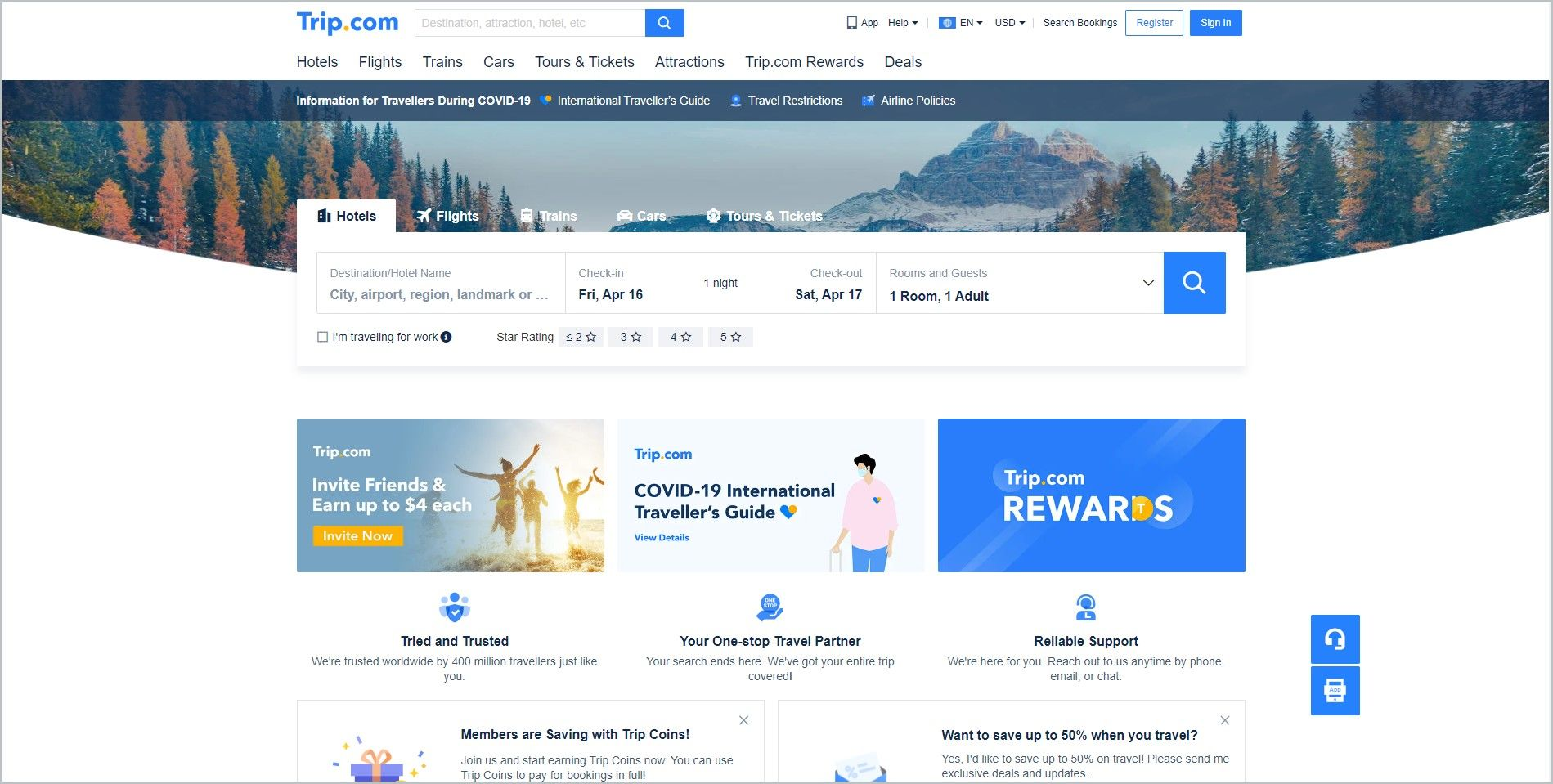 screenshot of Trip.com homepage, with blue announcement bar, white header bearing the website's name and search bar, underneath is the main navigation bar