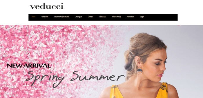Veducci Website Screenshot showing a woman in a yellow dress and blossoms
