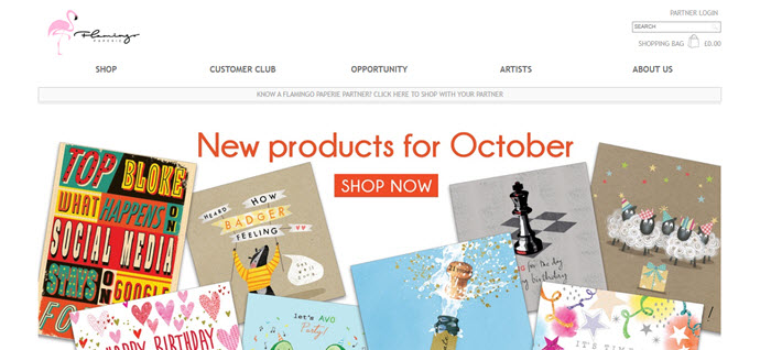 Website Screenshot from Flamingo Paperie showing various paper products
