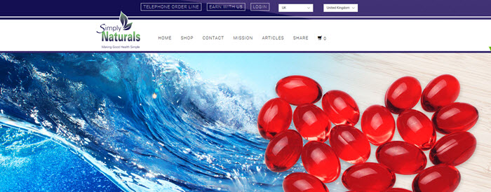 Website Screenshot from Simply Naturals showing waves and red supplements