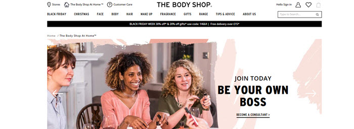 Website Screenshot from The Body Shop At Home showing a group of women