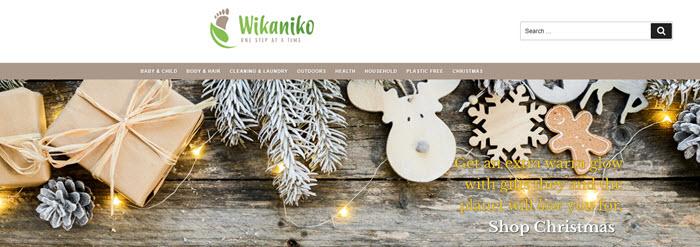 Wikaniko Website Screenshot showing lights and Christmas treats