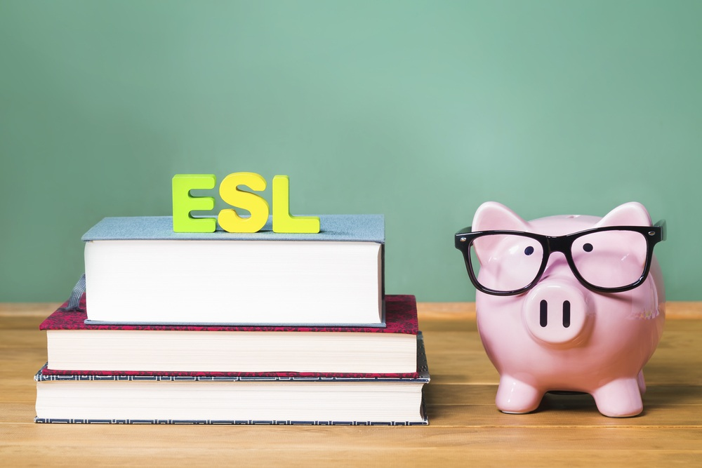 cute pig in glasses with english language books to represent ESL affiliate programs
