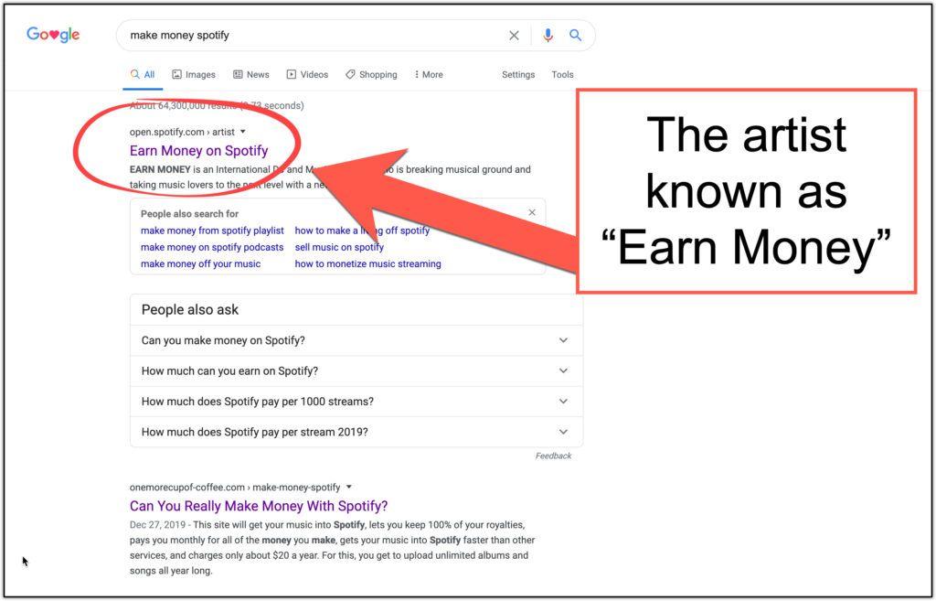 google earn earn money spotify