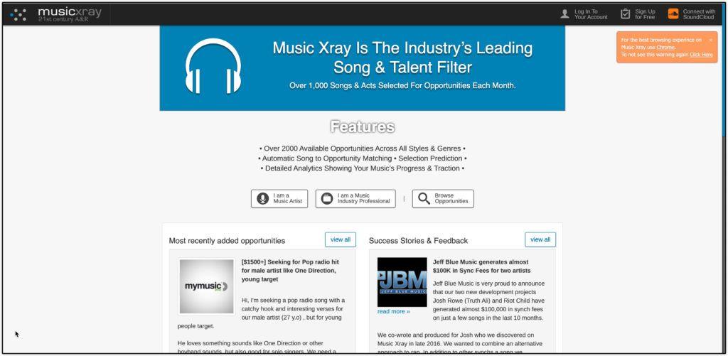 musicxray homepage screenshot