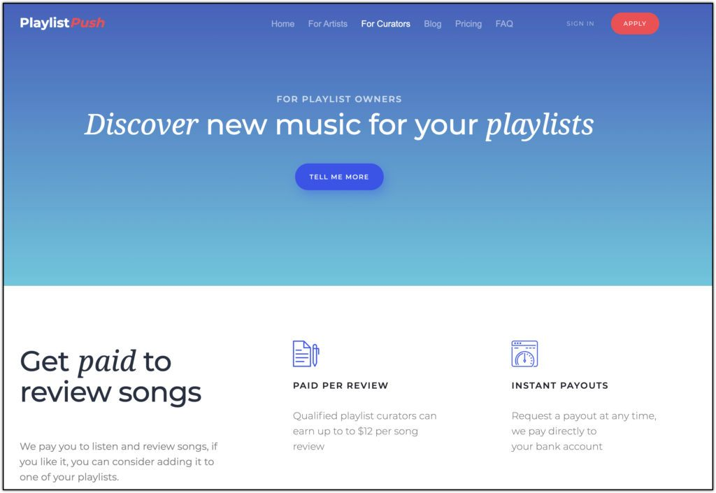 playlistpush paid to review music