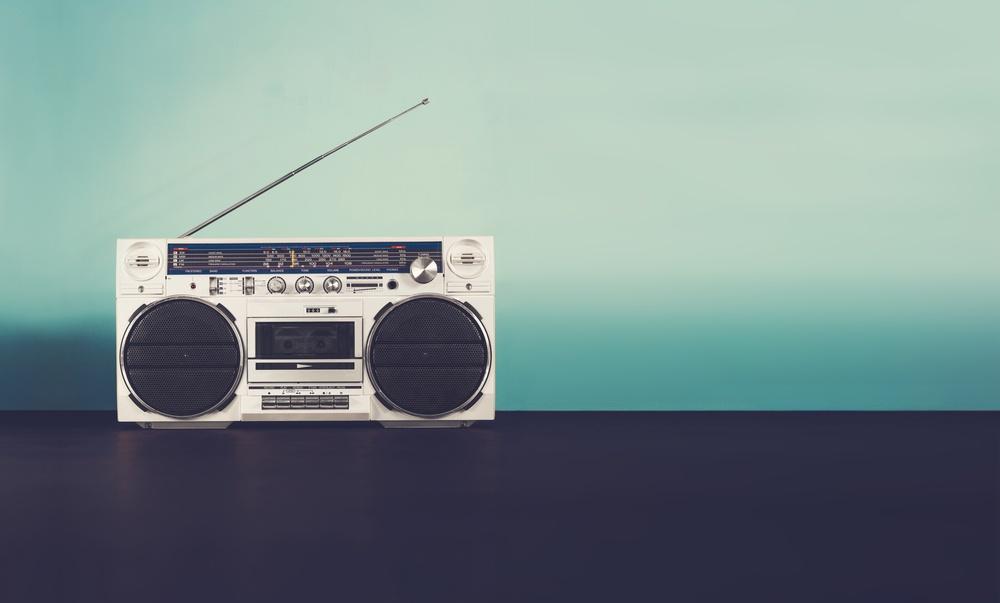 retro boombox radio on blue background