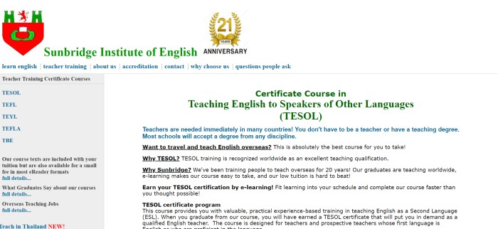"This screenshot of the TEFL page of Sunbridge Institute of English has a red and green logo in the upper left of the page, a golden ""21 years"" logo in the upper center of the page, a white background, and text in green, blue, and black describing the teacher training certificate courses available with this company."