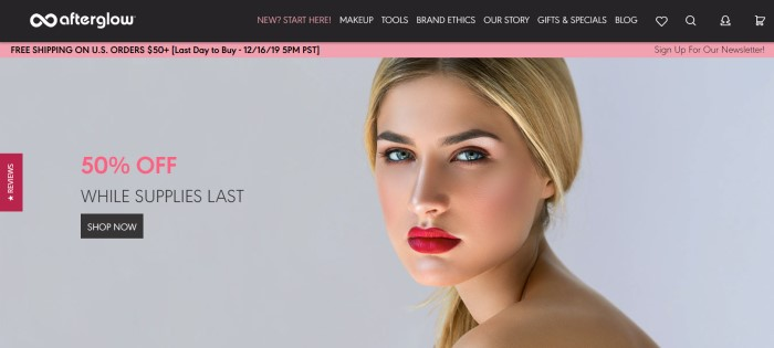 This screenshot of the home page for Afterglow Cosmetics has a black navigation bar, a pink announcement bar for free shipping, and a large photo of a blonde woman with perfect makeup next to a pink and gray announcement for a 50% off sale.