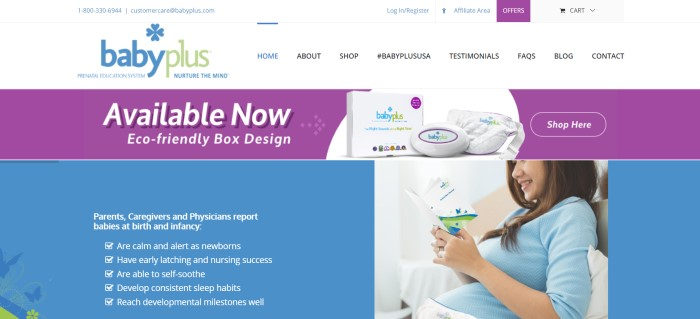This screenshot of the home page for BabyPlus has a white navigation bar, a blue and green logo, a purple advertisment for the eco-friendly box design of the BabyPlus technology, a blue information section in the lower left corner, and a photo of a smiling dark haired woman in a blue shirt wearing the device on her pregnant belly as she reads what appears to be an instructional manual.