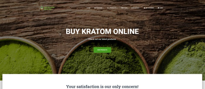 "This screenshot of the home page for Buy Kratom Bulk USA shows an overhead photo of three wooden bowls on a wooden table, each filled with Kratom powders in different shades and textures, along with white text reading ""Buy Kratom online"" and a green call-to-action button."