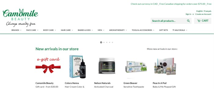This screenshot of the home page for Camomile Beauty has a white background with a green logo and green elements, as well as a row of small photos of new product arrivals.