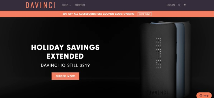 This screenshot of the home page for Davinci Vaporizers has a black header and background, an orange 20% discount sales bar, and a black main section with white text announcing extended holiday savings along with a side photo of a set of Davinci IQ vaporizers.