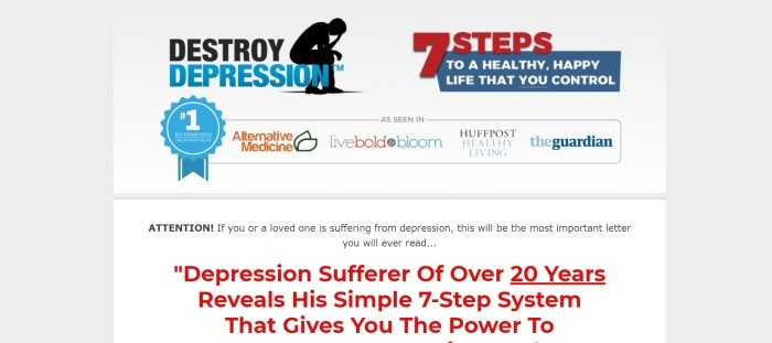 This screenshot of the home page for Destroy Depression has a light gray background with red and blue elements, along with a row of media icons that the program has been featured in above a sales letter in black and red text.