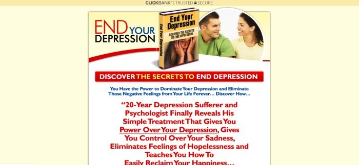 This screenshot of the home page for End Your Depression has a pale yellow background, along with a small image of the book being sold and a semi-circular image of a man and a woman smiling at each other, above a sales letter with text and other elements in red, blue, black, and white.