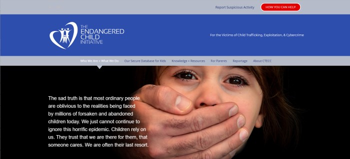 This screenshot of the home page for Endangered Children Initiative has a gray and royal blue with a white logo, a gray navigation bar, and a dark photo of a child with a man's hand covering everything but the child's dark eyes, along with white text describing the plight of endangered children.
