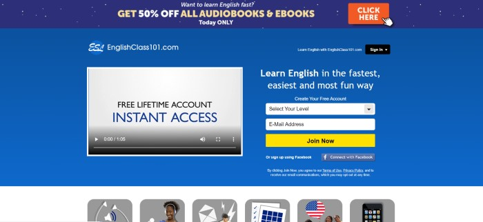 This screenshot of the home page for English Class 101 has a dark blue header with white dots and a sales announcement with an orange call-to-action button above a royal blue main section with a gray-screened video player on the left side of the page and an opt-in window with a yellow call-to-action button on the right side of the page.