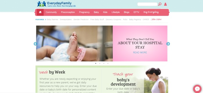This screenshot of the home page of Everyday Family has a light blue header with a green and blue logo, a red navigation bar with white text, a secondary white navigation bar, a photo of a baby's foot with a pink hospital band on it, a pink text box and a green text box with a photo of a smiling woman in white, along with text describing week-by-week tracking of a baby's development.