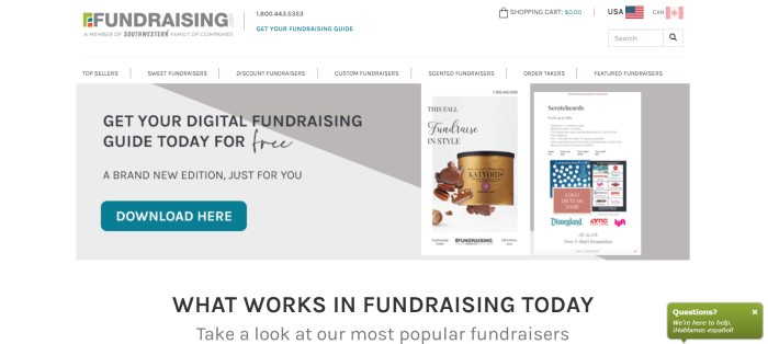 This screenshot of the home page for Fundraising has a white background and navigation section, a gray announcement section with a teal call-to-action button, a photo of a chocolate fundraising option, and a photo of a scratch-card fundraising option above black text describing what works in fundraising.