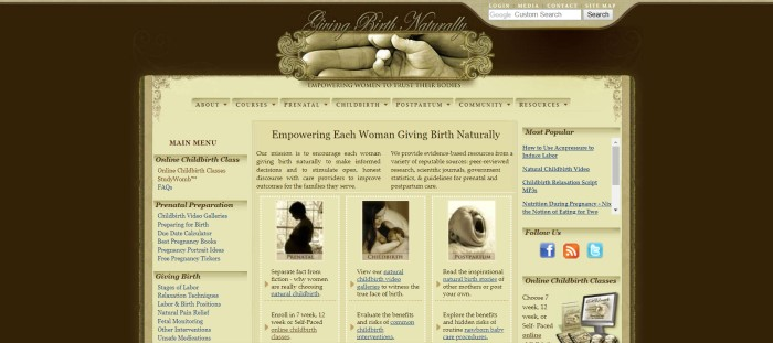 This screenshot of the home page for Giving Birth Naturally has a dark background, a gold navigation section, and a gold main section with dark text describing the website, along with a products section on the left side, a row of small black and white photos representing the three trimesters of pregnancy, and some links on the right.