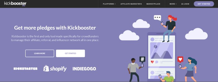 This screenshot of the home page for Kickbooster.me has a black navigation bar above a purple main section with graphics of a red-haired woman and two dark-haired men surrounding an enormous mobile device, using the mobile devices in their hands, along with white text describing how to get more pledges with Kickbooster and a white call-to-action button.