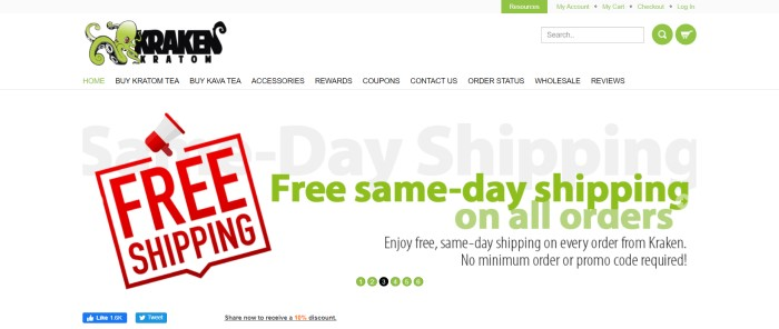 This screenshot of the home page for Kraken Kratom has a white background with a green and black logo above an advertisement in green and red over a white background for free same-day shipping on all orders.