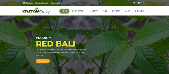 This screenshot of the home page for Kratom Crazy has a white navigation bar across the top of a dark-filtered photo of Kratom leaves, along with text in yellow and white advertising Red Bali Kratom with an orange call-to-action button.