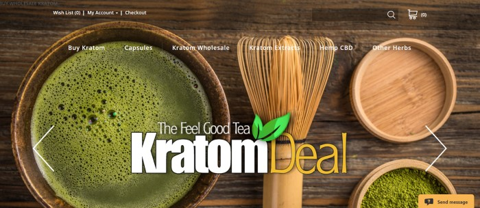 This screenshot of the home page for Kratom Deal has an overhead photo showing a wooden tabletop carrying mixing brushes and wooden dishes, some of which contain Kratom powder or what appears to be a deep green tea.
