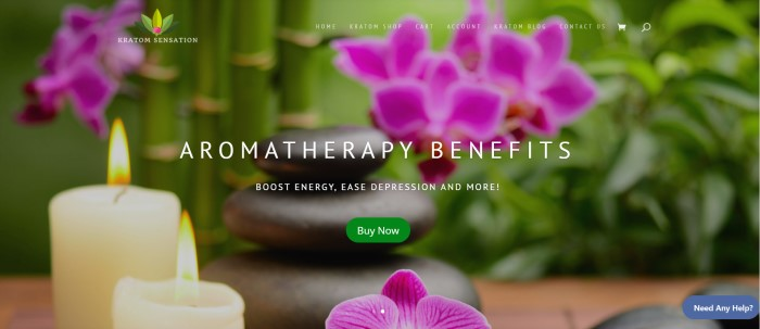This screenshot of the home page for Kratom Sensation has a slightly blurry photo of green plants with pink flowers behind two lit white candles and 3 black stacked stones, along with white text announcing aromatherapy benefits and a green call-to-action button.