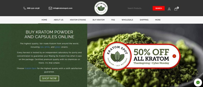 This screenshot of the home page for Kratom Spot has a black header, a white navigation bar with black text, a dark green text box on the left side of the screen with white lettering advertising Kratom powder and capsules, and a photo of a white bowl filled with Kratom powder on the right side of the screen, behind an advertisement for a 50% discount.