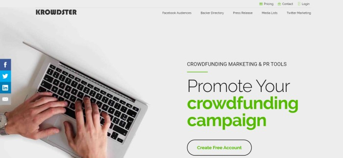 This screenshot of the home page for Krowdster has an overhead photo with a white background and an open laptop with a man's hands on the keyboard, along with black and green text inviting people to use this crowdfunding platform.