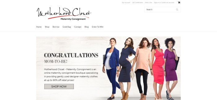 This screenshot of the home page for Motherhood Closet has a white navigation bar with black text above a photo of five pregnant woman wearing fashionable clothing in blue, white, peach, watermelon, and purple, along with black text congratulating expectant mothers and describing Motherhood Closet.