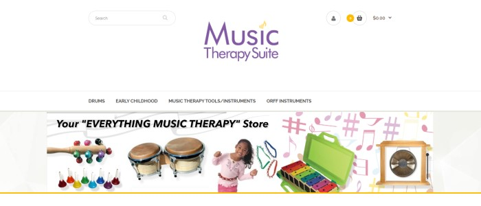 This screenshot of the home page for Music Therapy Suite has a white background and search bar, a purple and yellow logo, and a photo showing a smiling young dark-haired girl along with several musical instruments.